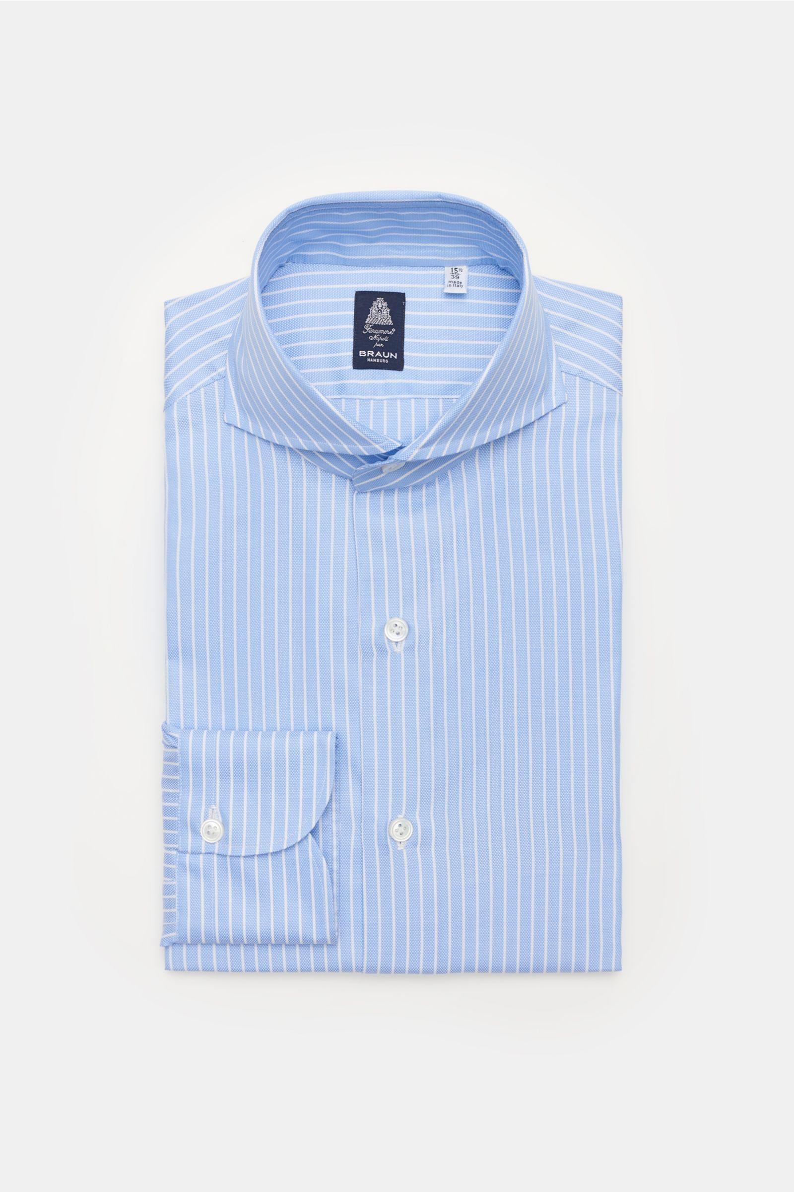 Business shirt 'Sergio Napoli' shark collar light blue/white striped