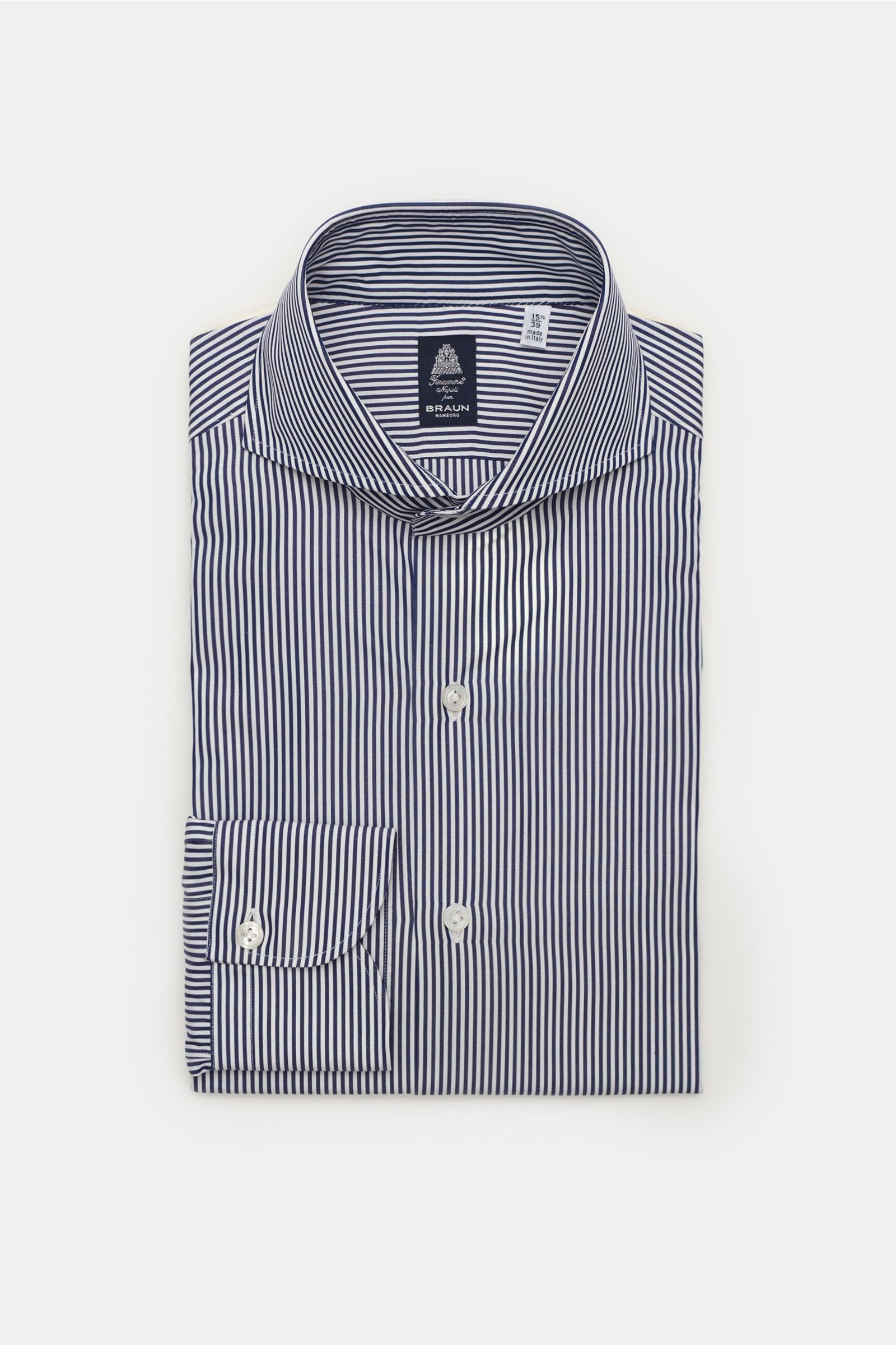 Business shirt 'Sergio Napoli' shark collar navy/white striped