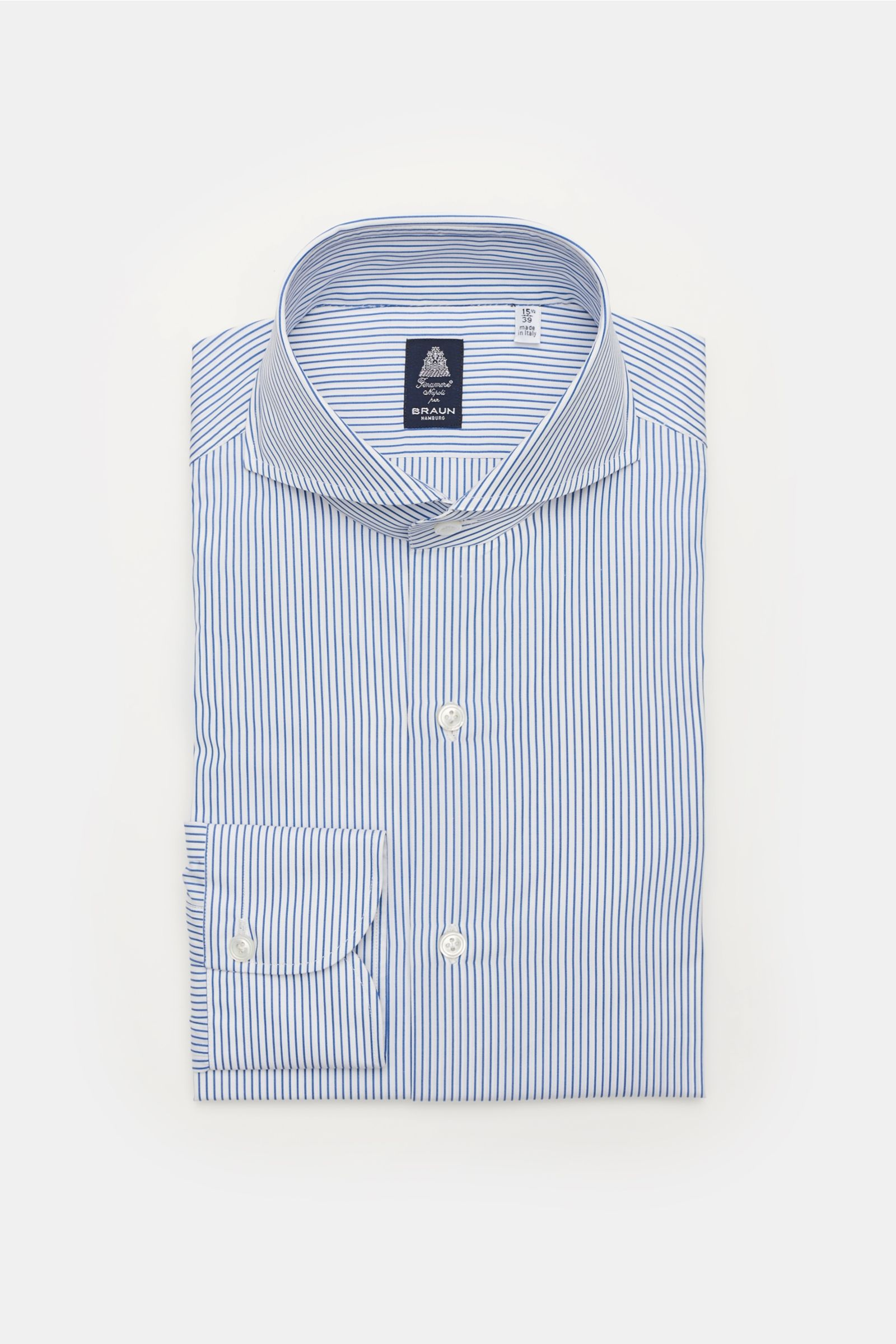 Business shirt 'Sergio Napoli' shark collar dark blue/white striped