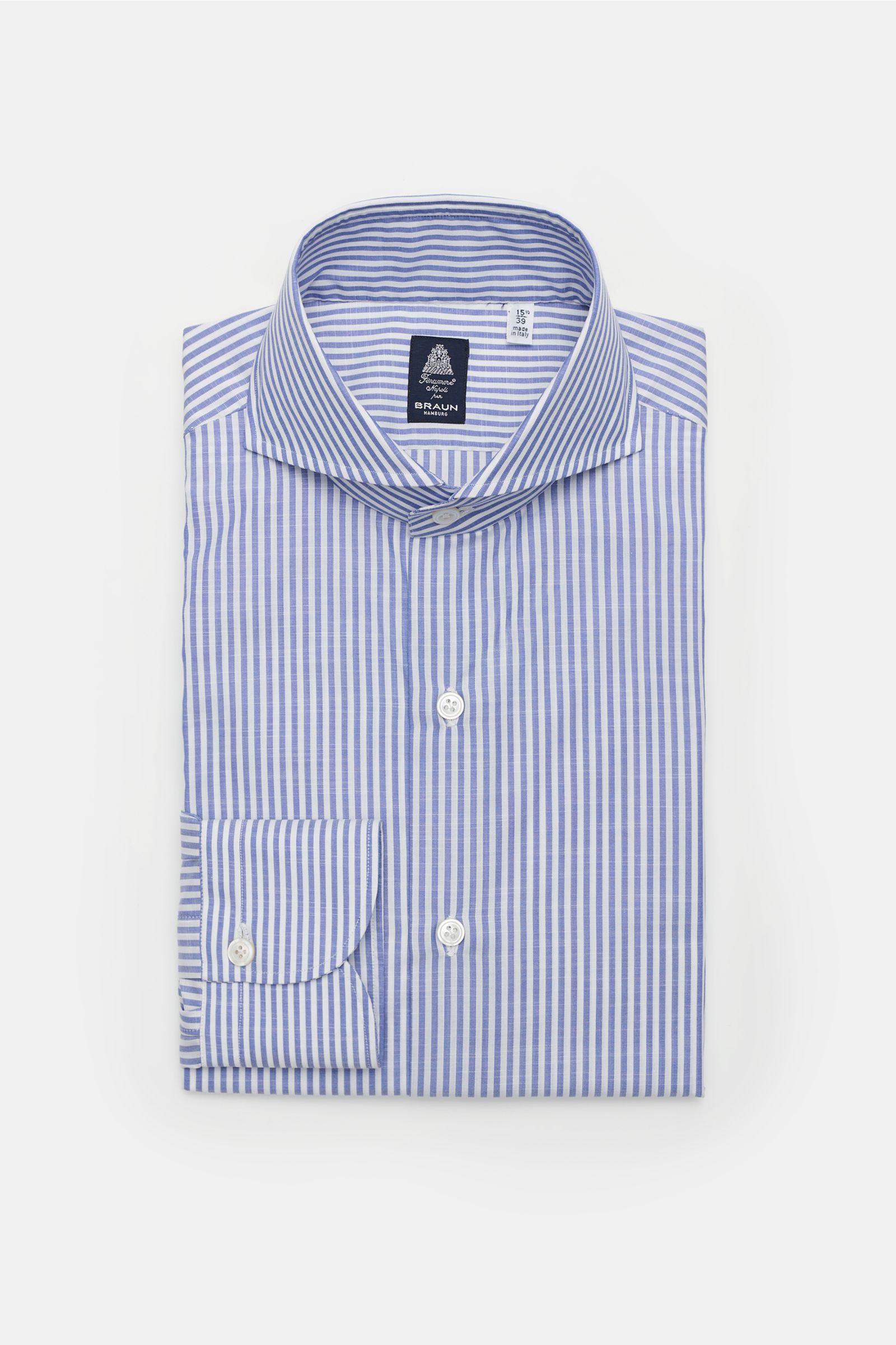 Business Hemd 'Sergio Napoli' Haifisch-Kragen graublau/weiß gestreift