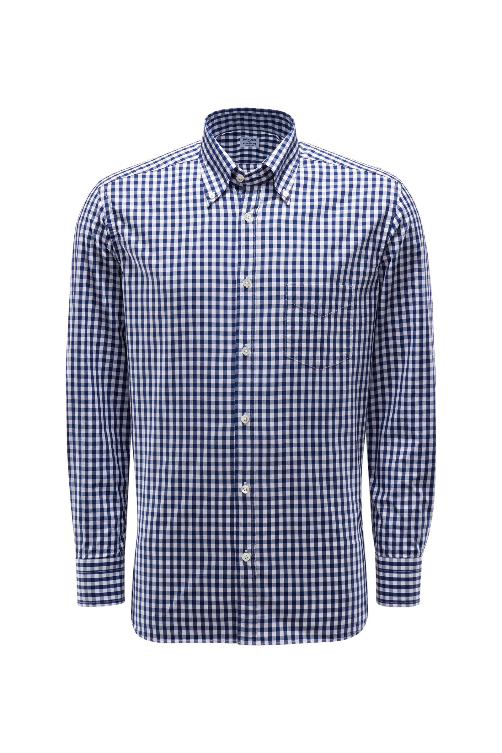 Casual Hemd Button-Down-Kragen dunkelblau/weiß kariert