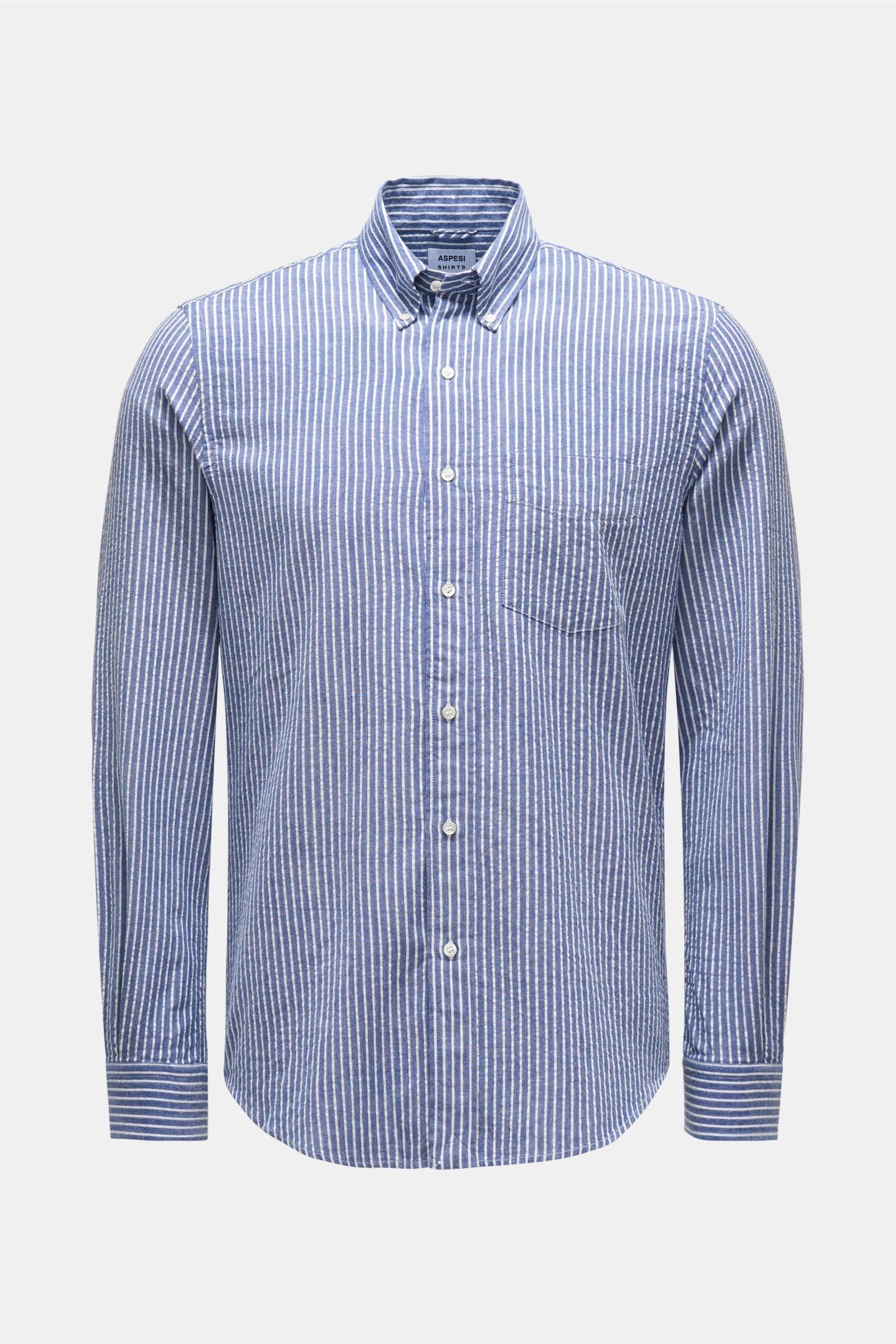 Seersucker shirt button-down collar grey-blue/white striped