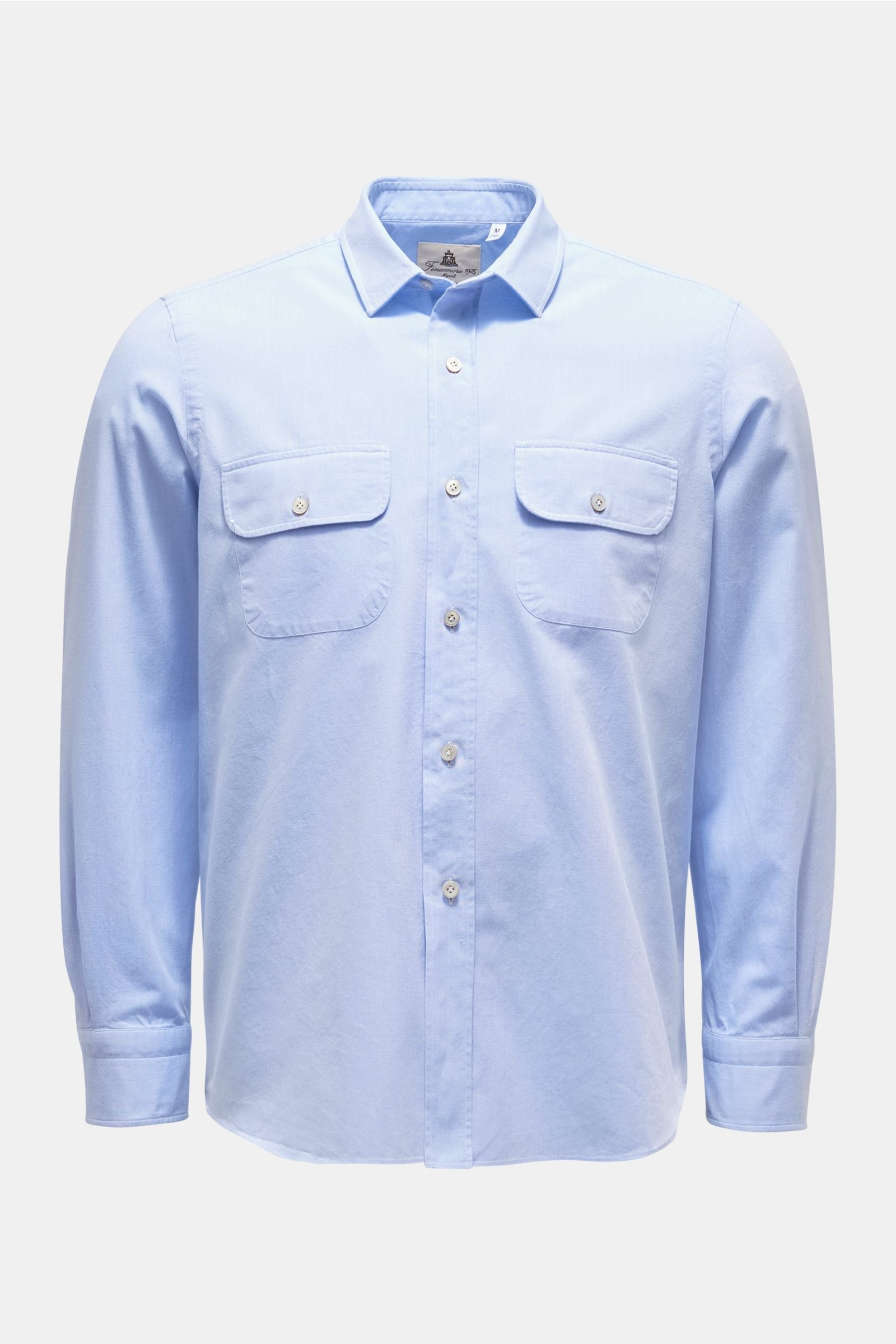 Chambray shirt 'Silvano Clark' with slim collar light blue