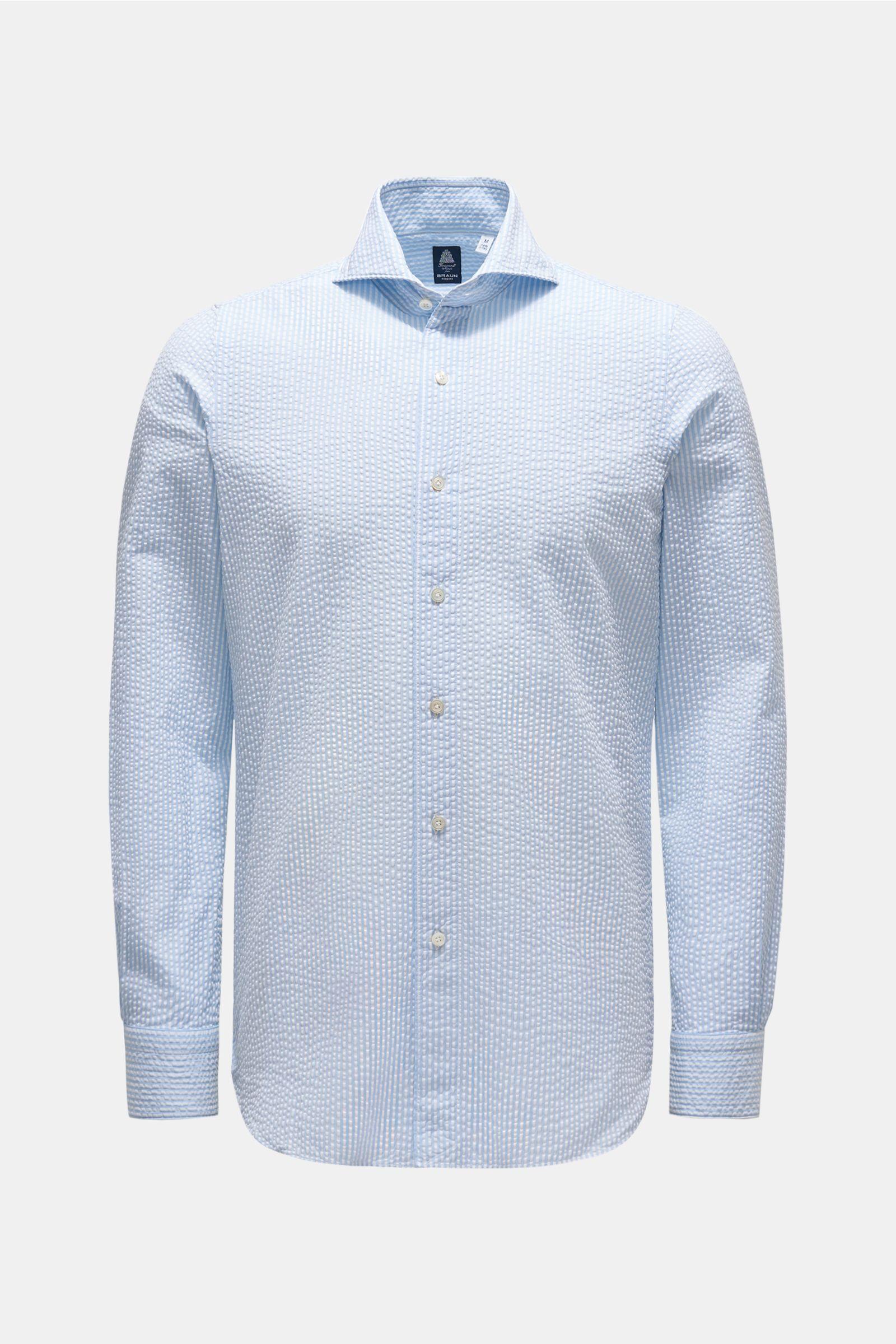 Seersucker shirt 'Sergio Gaeta' shark collar light blue/white striped