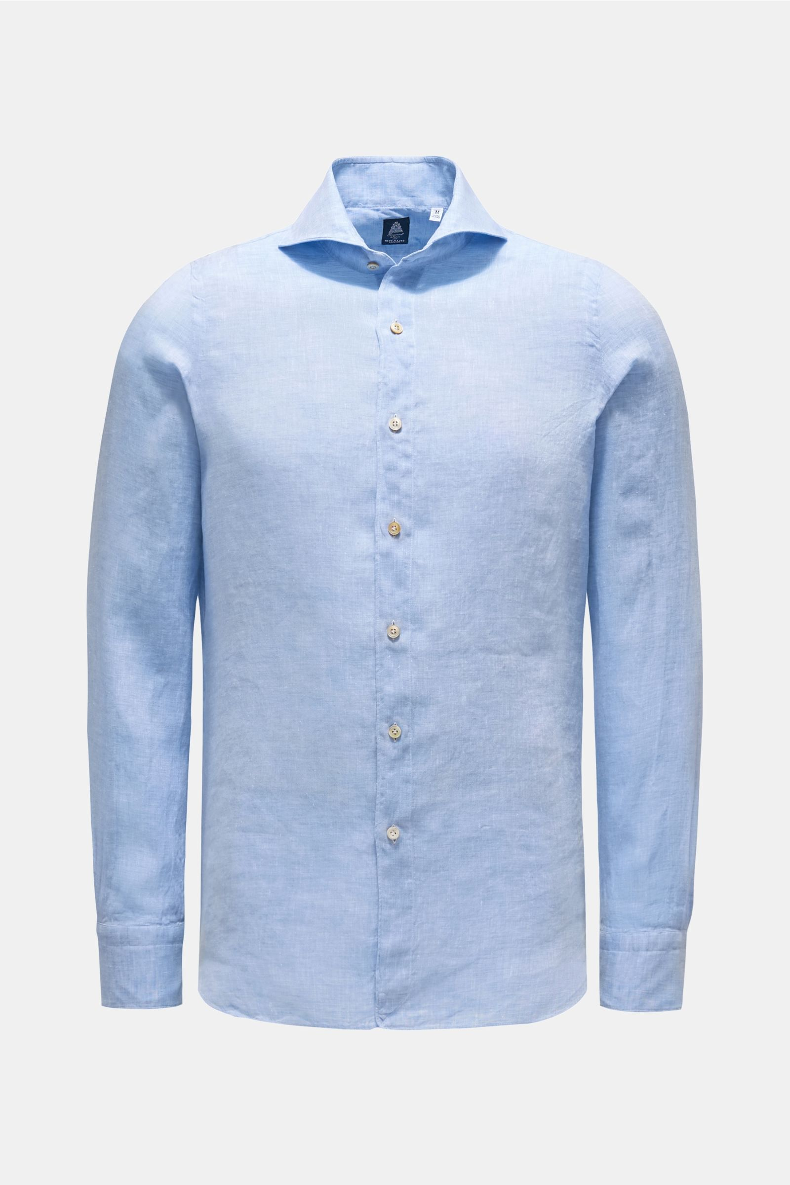Leinenhemd 'Sergio Gaeta' Haifisch-Kragen hellblau