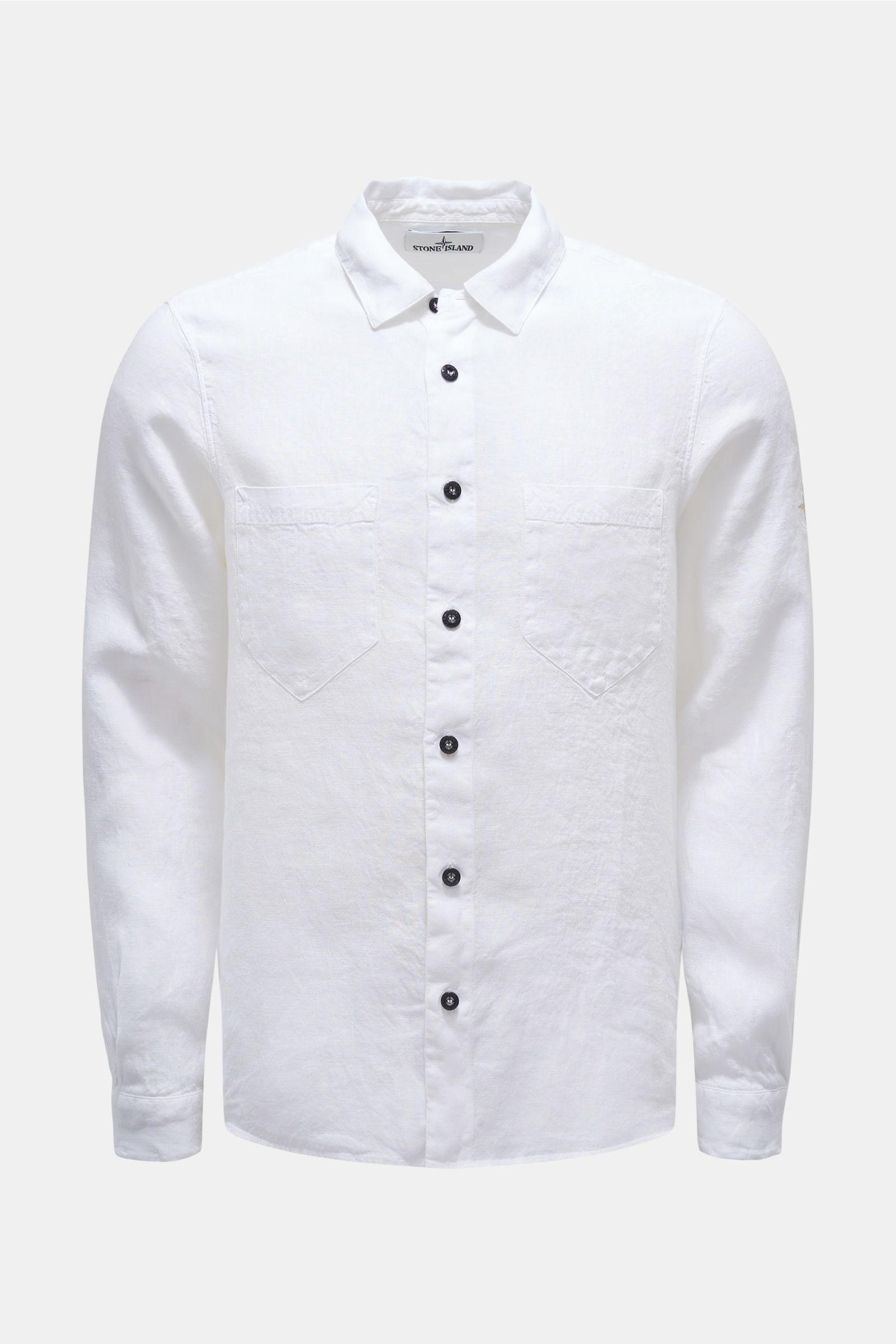Leinenhemd schmaler Kragen weiß