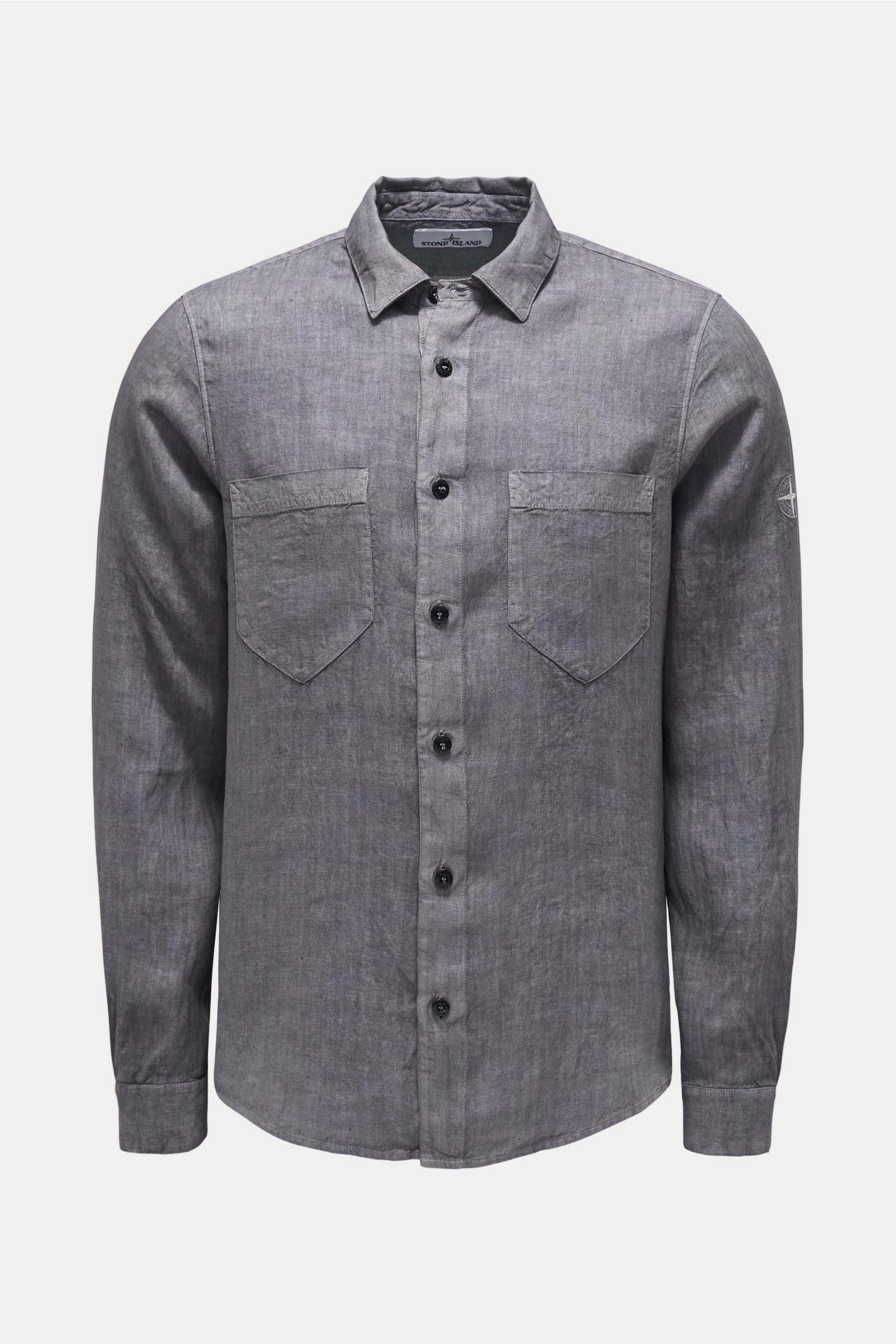Linen shirt narrow collar dark grey