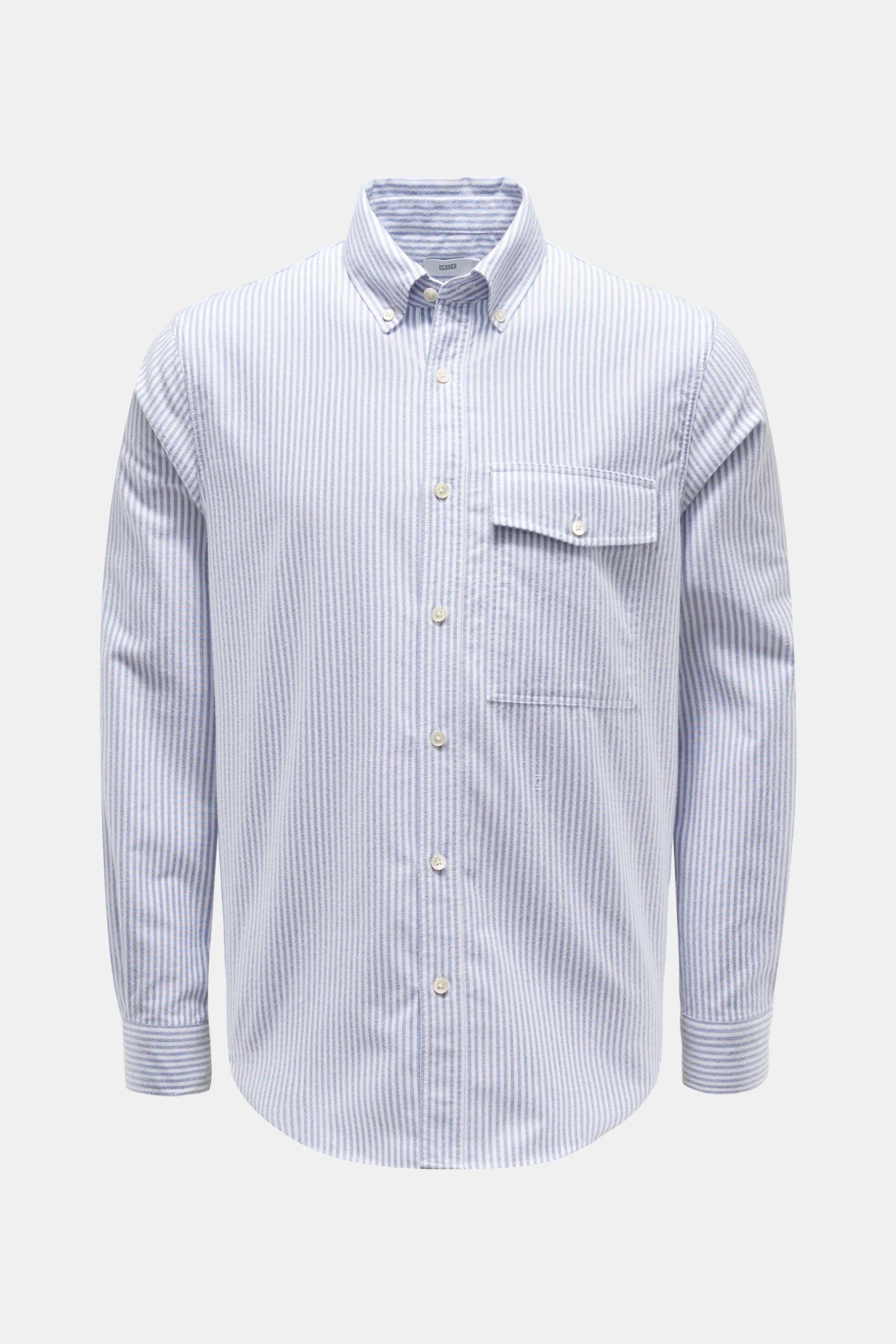 Flanellhemd Button-Down-Kragen grau/weiß gestreift