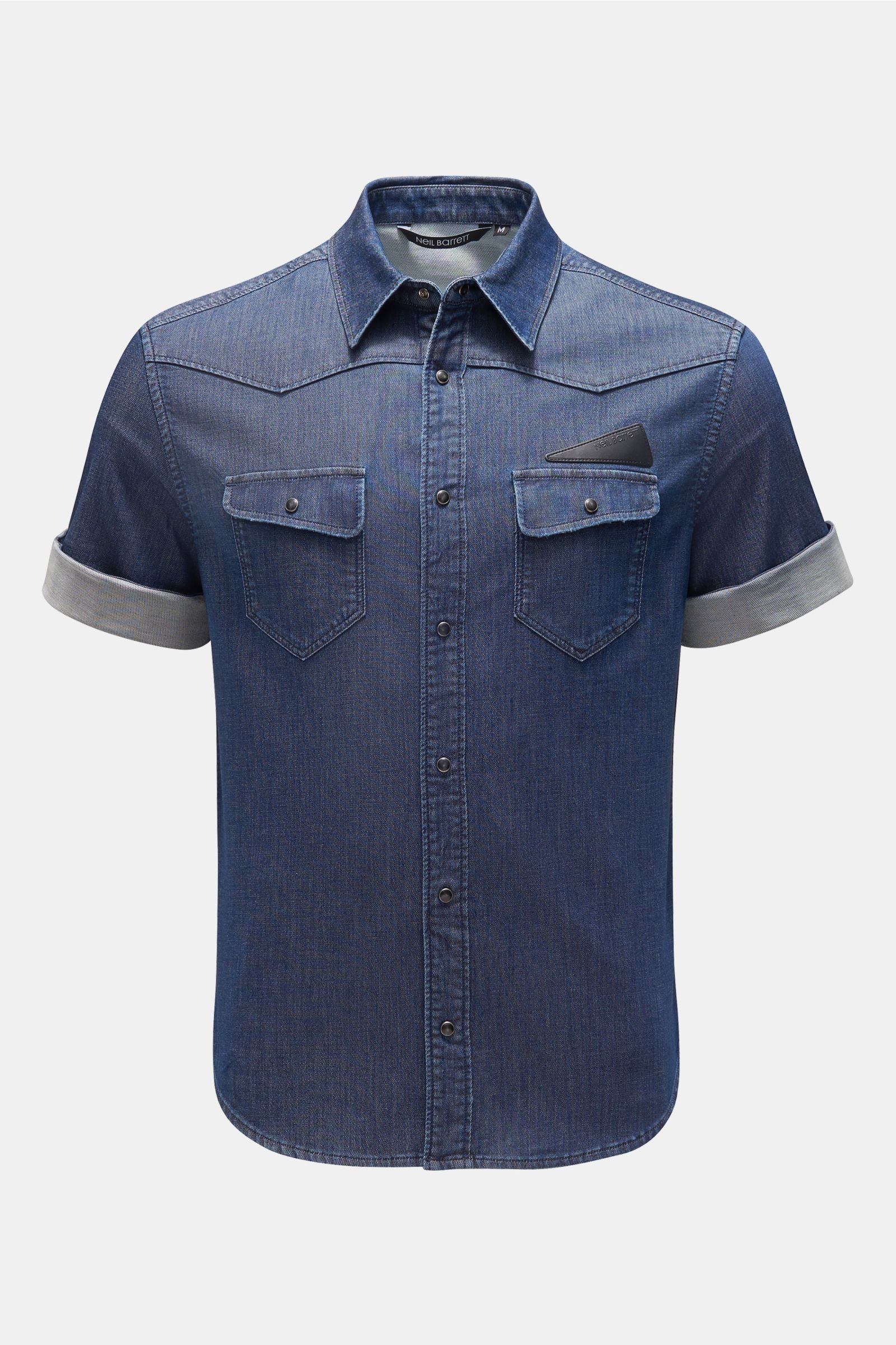 Jeans-Kurzarmhemd Kent-Kragen dunkelblau