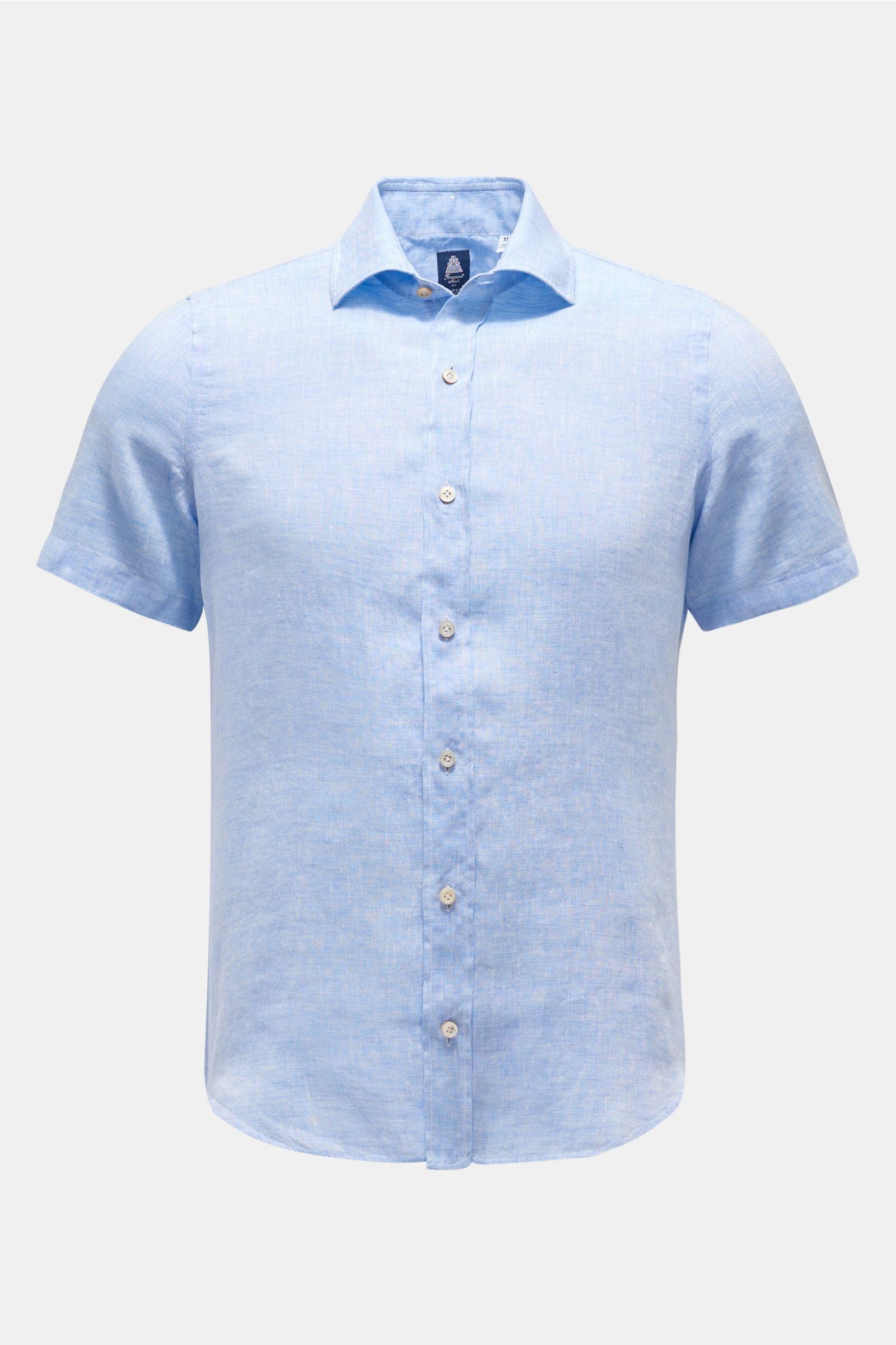 Leinen-Kurzarmhemd 'Luigi Giglio' schmaler Kragen hellblau