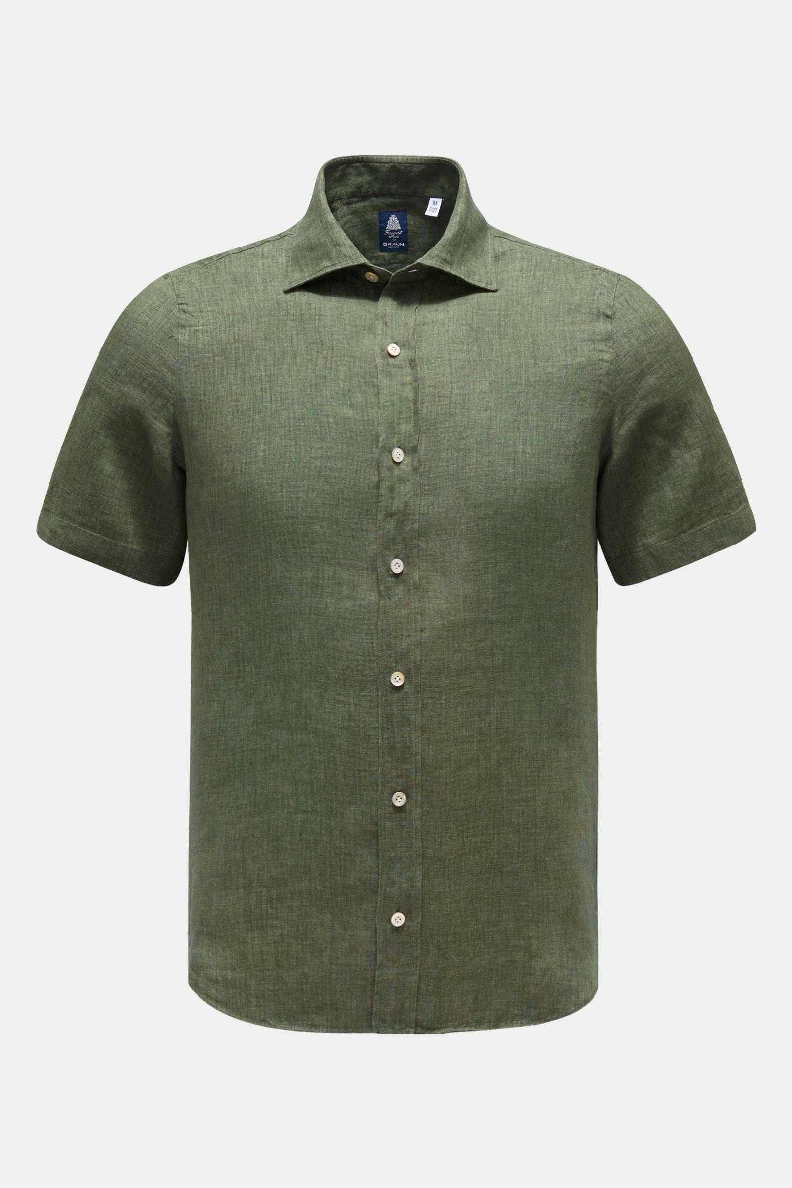 Linen short sleeve shirt 'Luigi Giglio' narrow collar olive