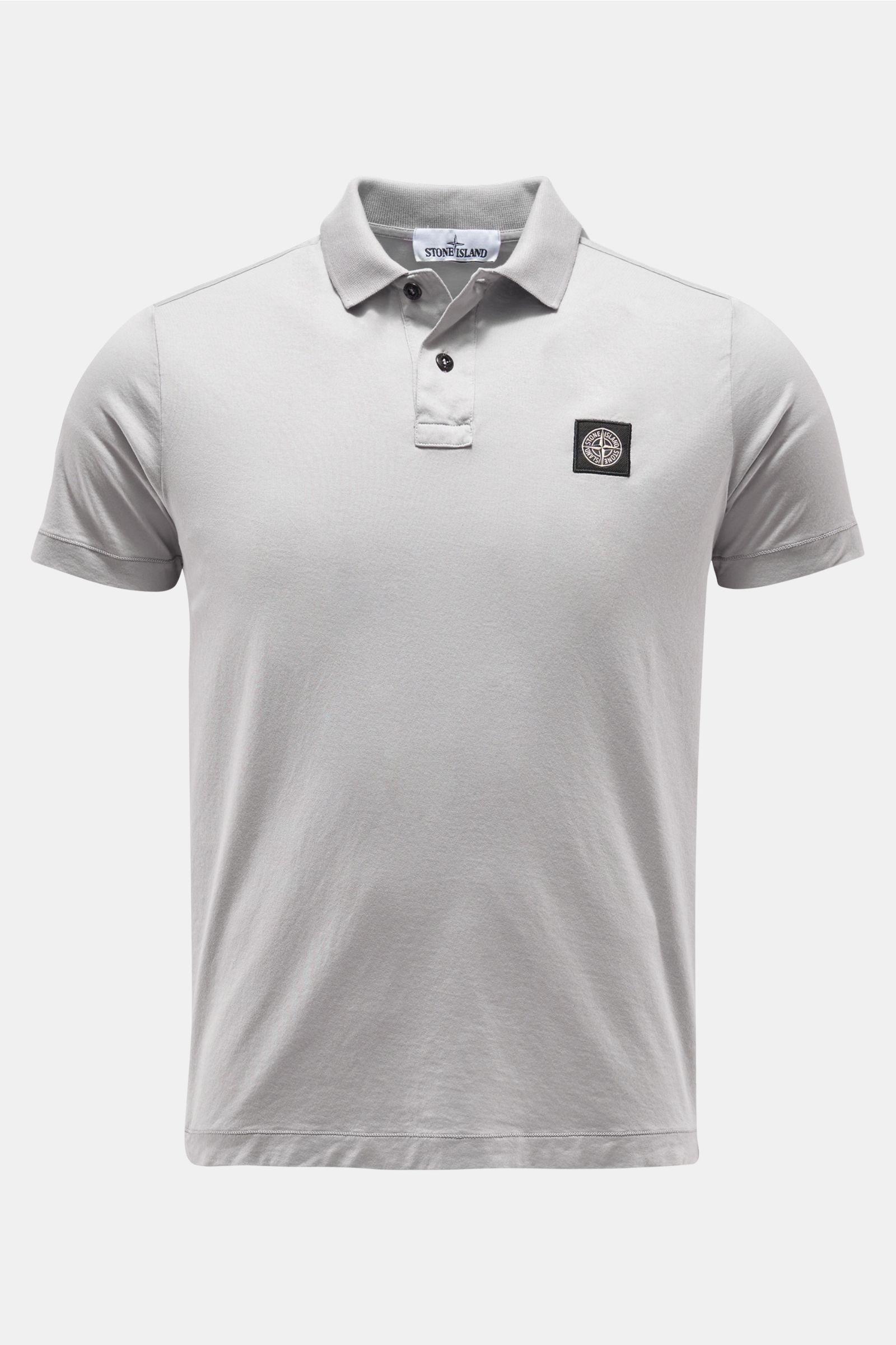Jersey-Poloshirt hellgrau