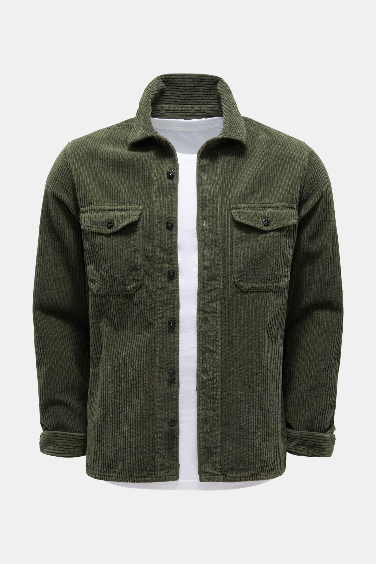 Cord-Overshirt graugrün