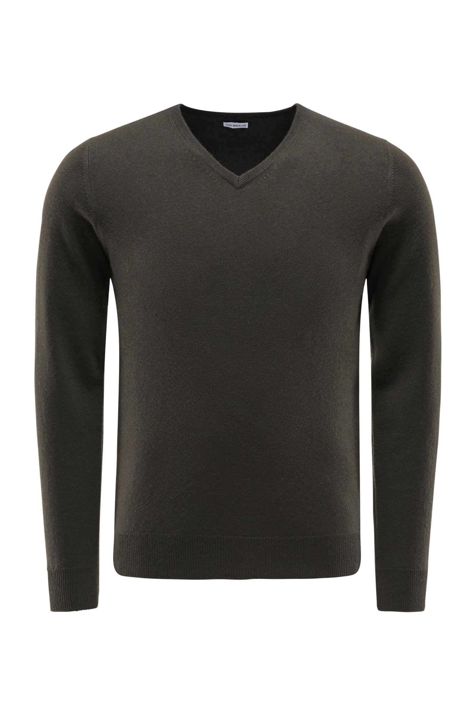 Cashmere V-Neck Pullover dark olive
