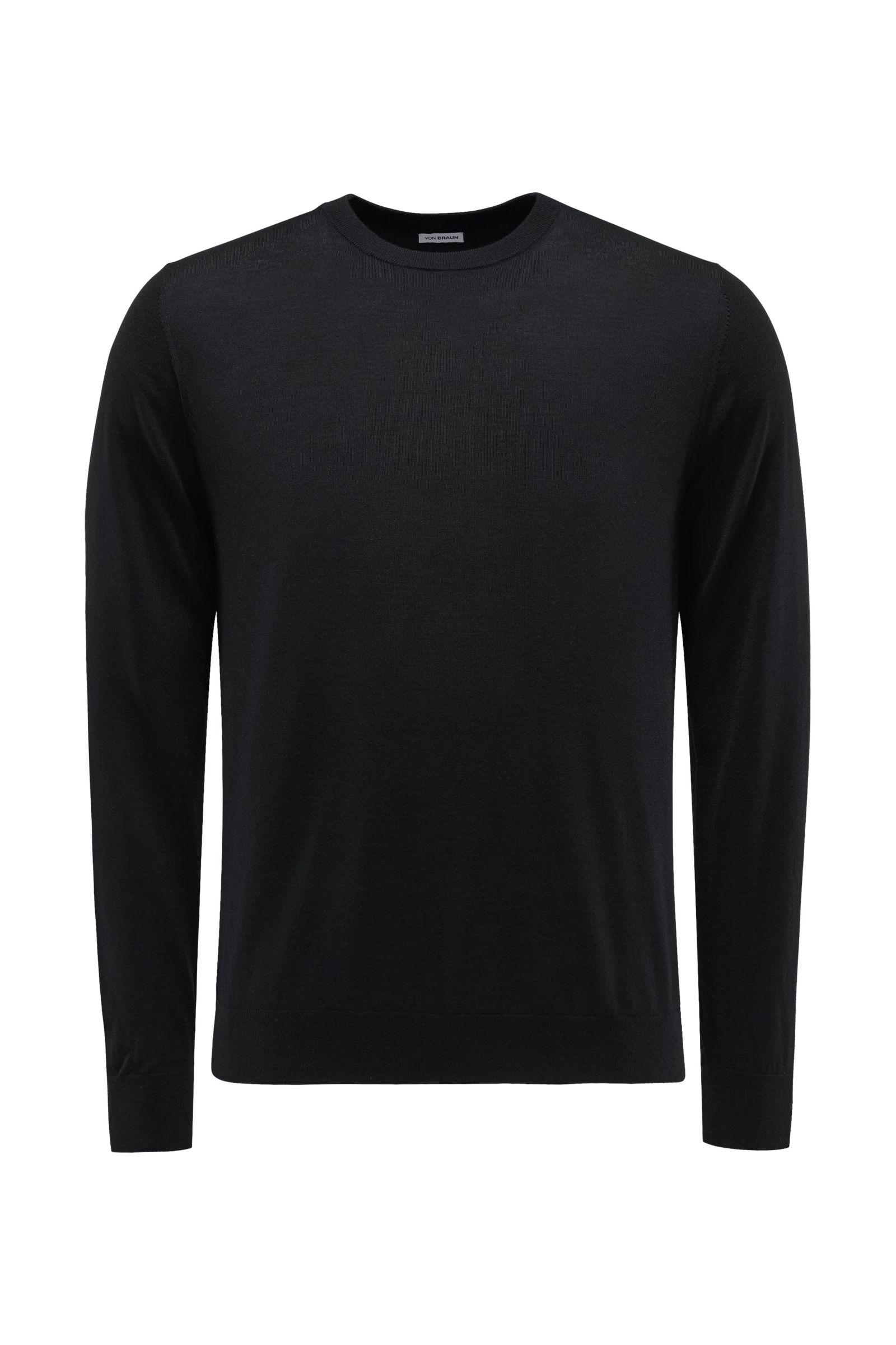 Feinstrick R-Neck Pullover schwarz