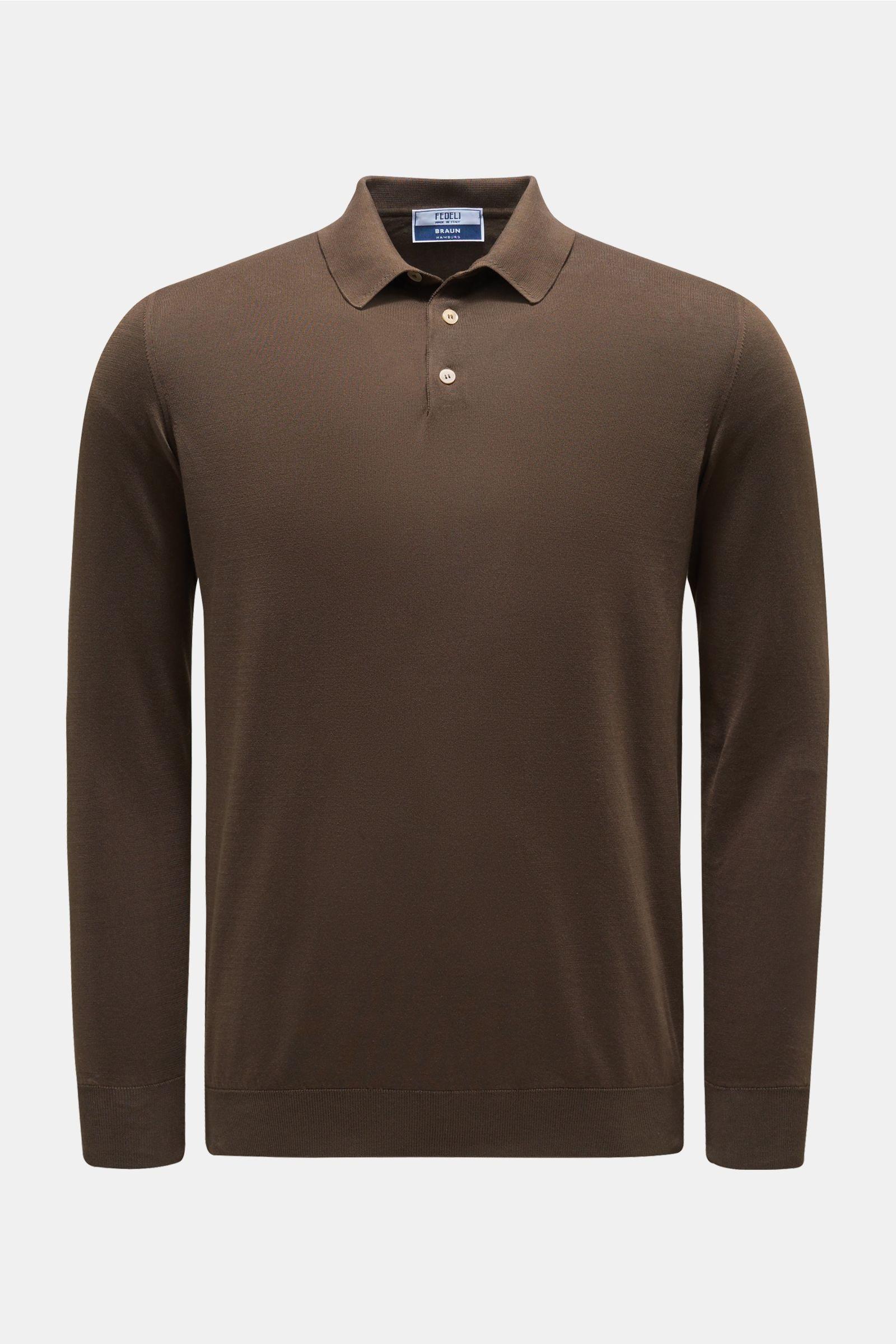 Longsleeve-Poloshirt 'Sportman' dunkelbraun