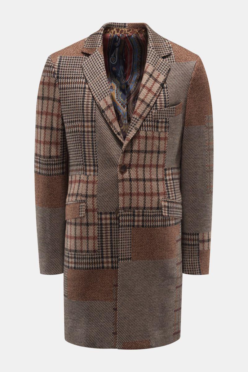 Jersey-Mantel braun gemustert