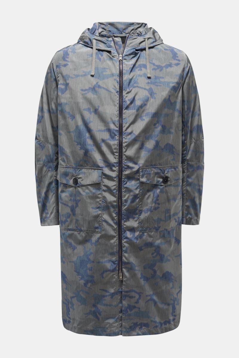 Mantel graublau/dunkelblau gemustert