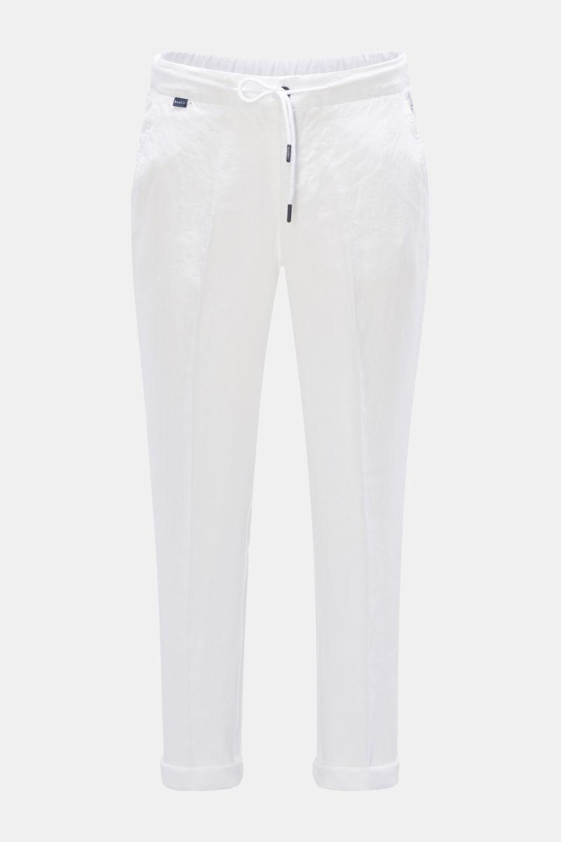 Leinen-Joggpants weiß