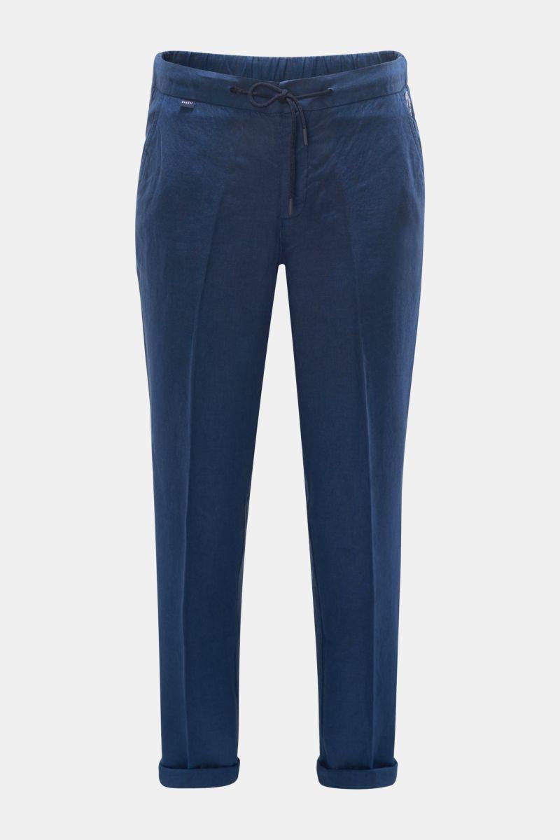 Linen jogger pants dark blue