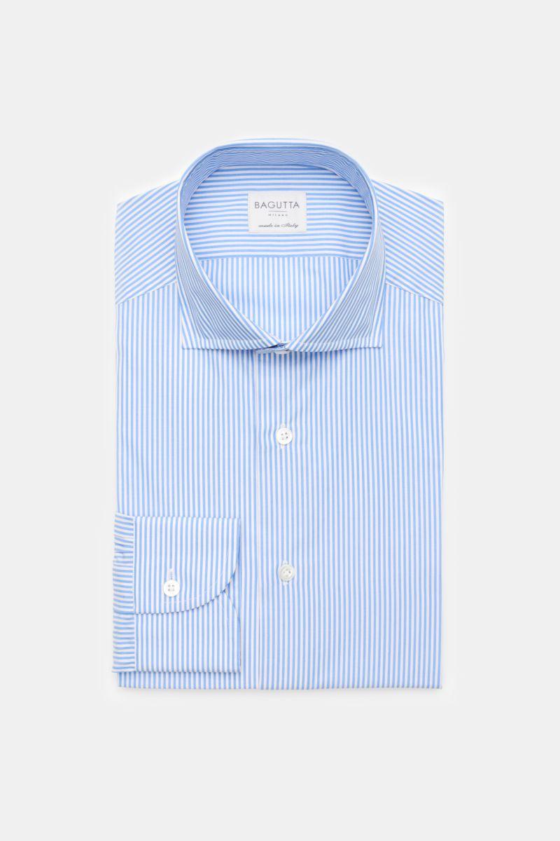 Business Hemd Haifisch-Kragen hellblau/weiß gestreift