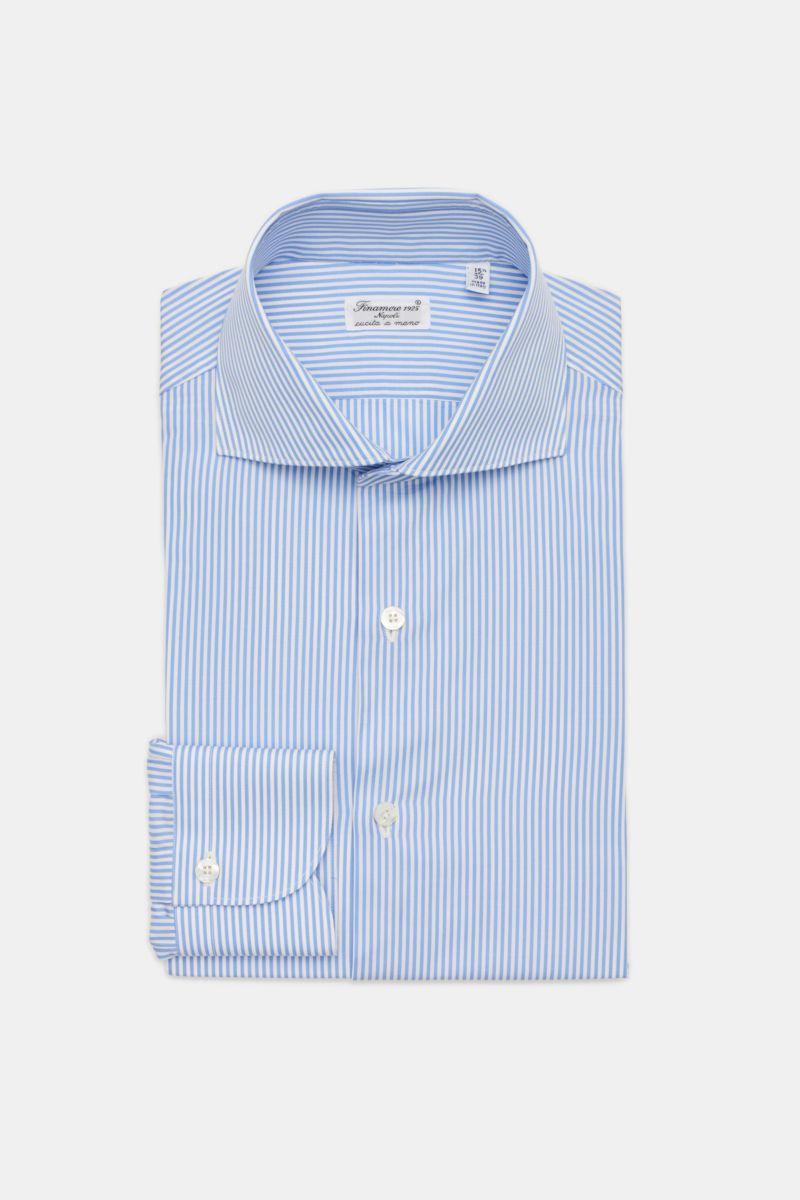 Business Hemd 'Eduardo Milano' Haifisch-Kragen hellblau/weiß gestreift