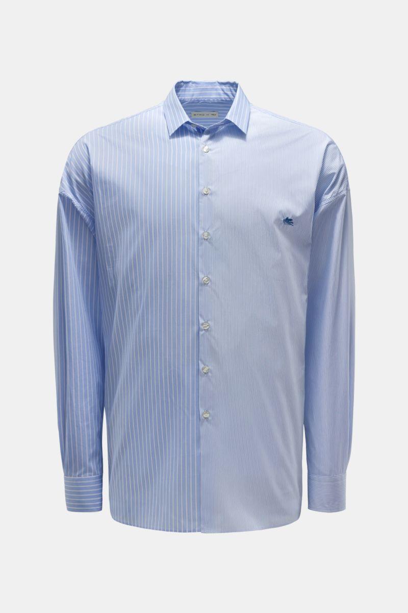 Casual Hemd schmaler Kragen hellblau gestreift
