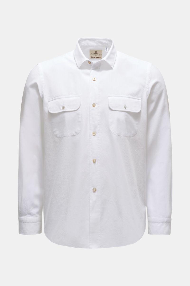 Chambray-Hemd 'Silvano Clark' schmaler Kragen weiß