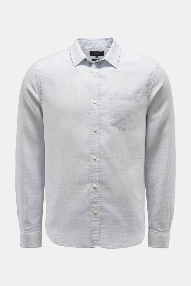 Casual Hemd schmaler Kragen hellgrau gemustert