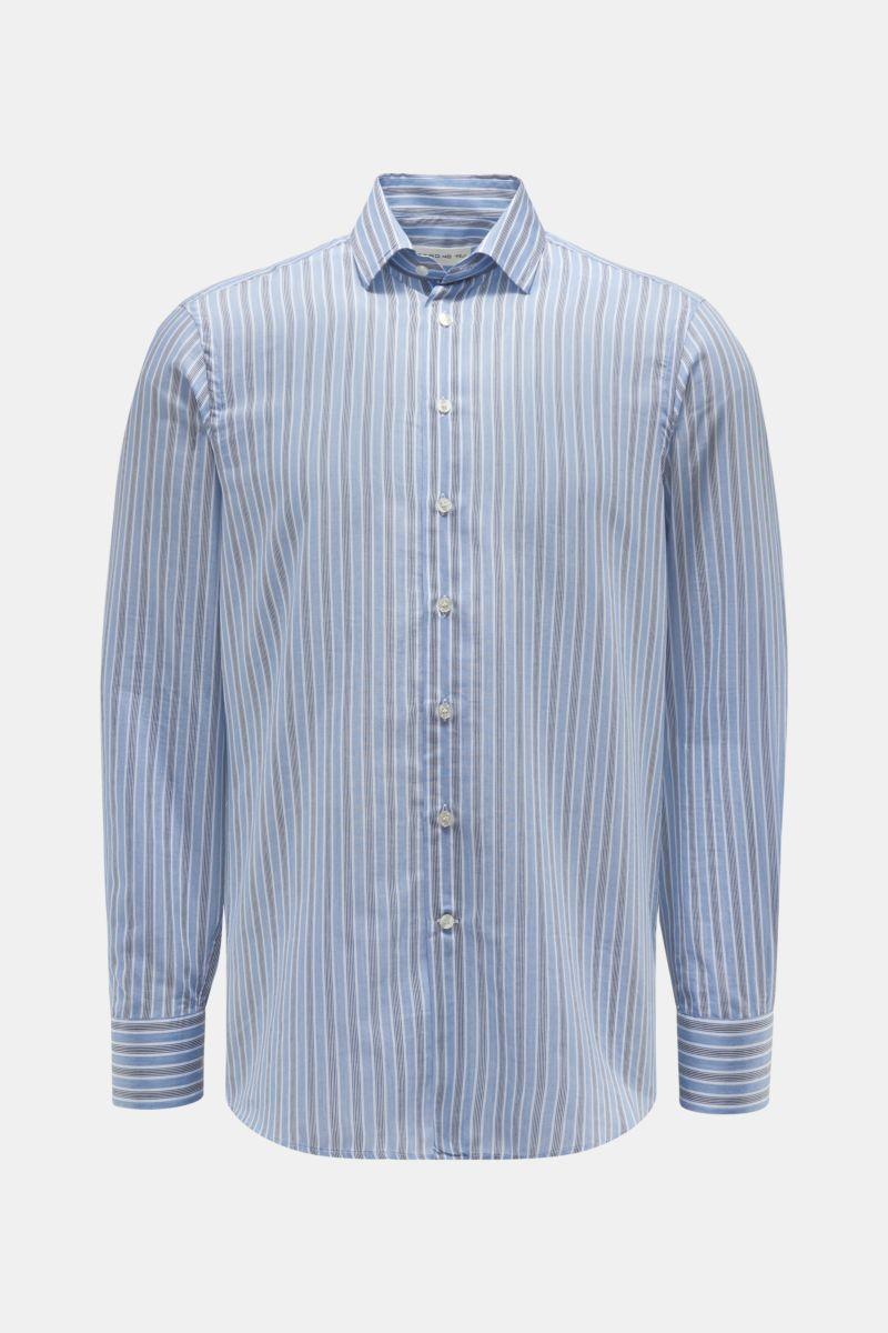 Casual Hemd schmaler Kragen graublau/weiß gestreift