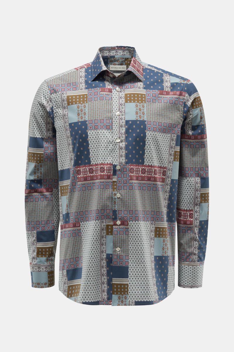 Casual Hemd schmaler Kragen graublau/pastellblau gemustert