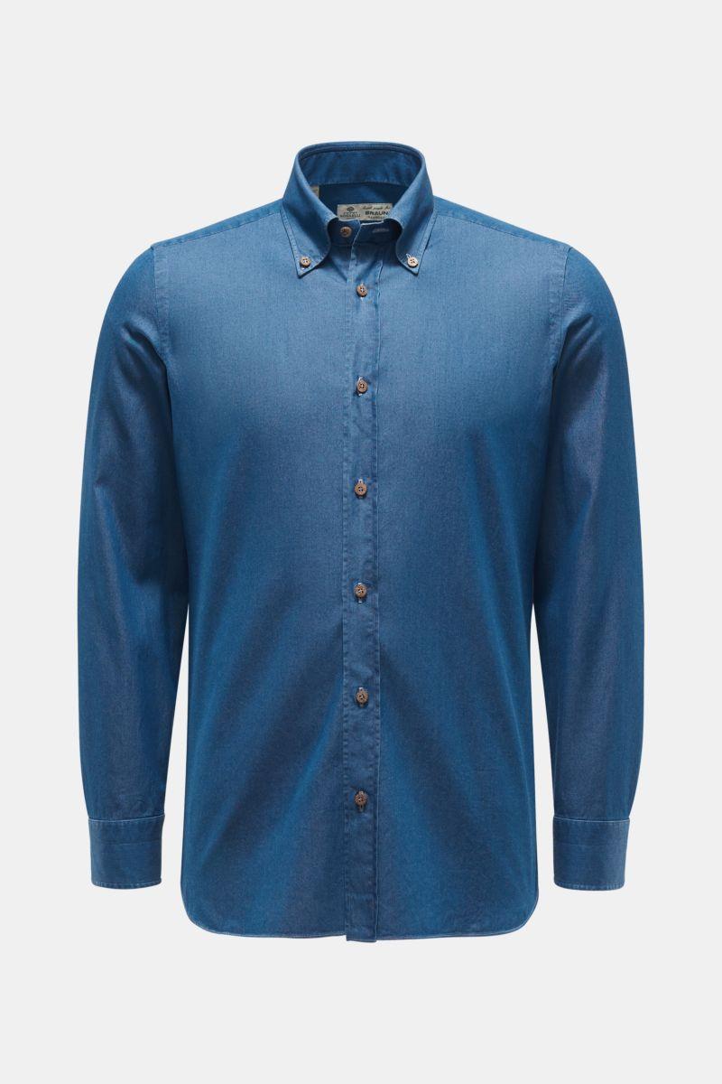 Chambray-Hemd 'Gable' Button-Down-Kragen dunkelblau