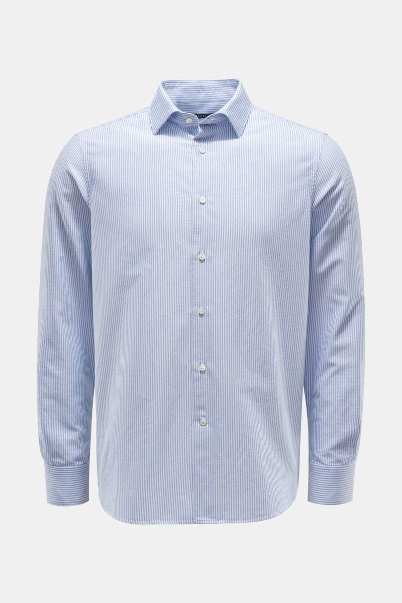 Oxford-Hemd Kent-Kragen rauchblau/weiß gestreift