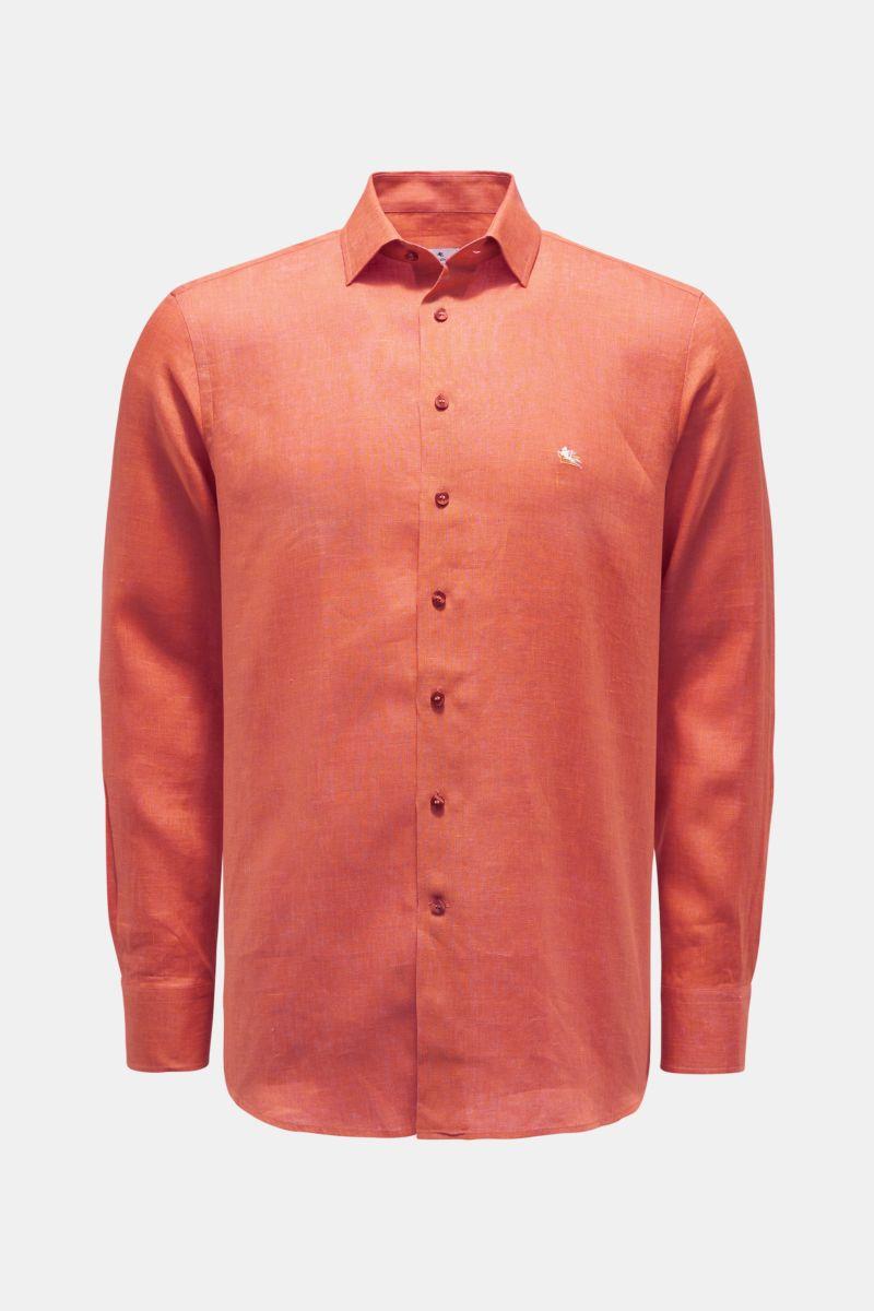 Leinenhemd Kent-Kragen orange