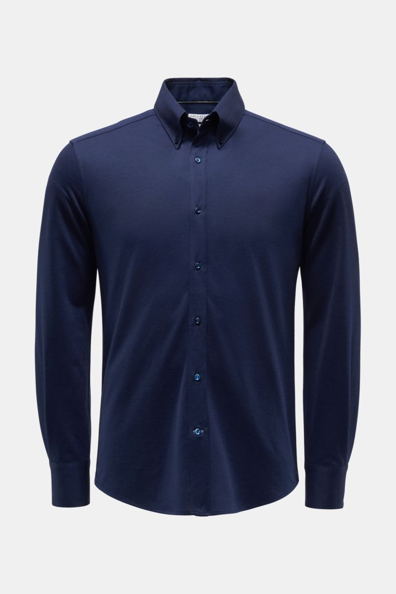 Jersey-Hemd Button-Down-Kragen navy