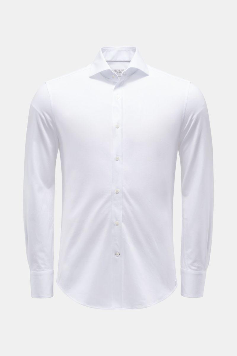 Jersey-Hemd Haifisch-Kragen weiß
