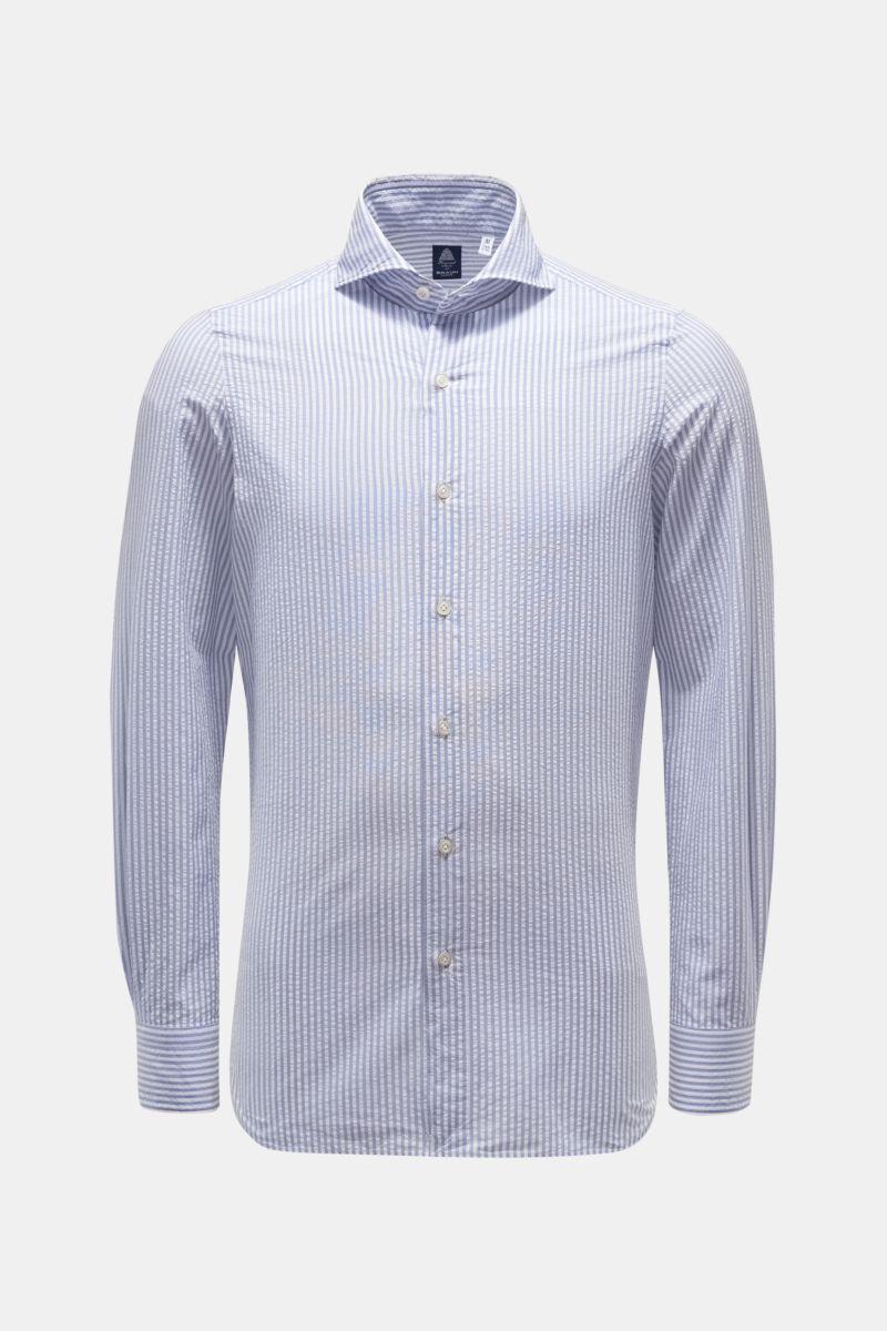 Seersucker-Hemd 'Sergio Gaeta' Haifisch-Kragen rauchblau/weiß gestreift