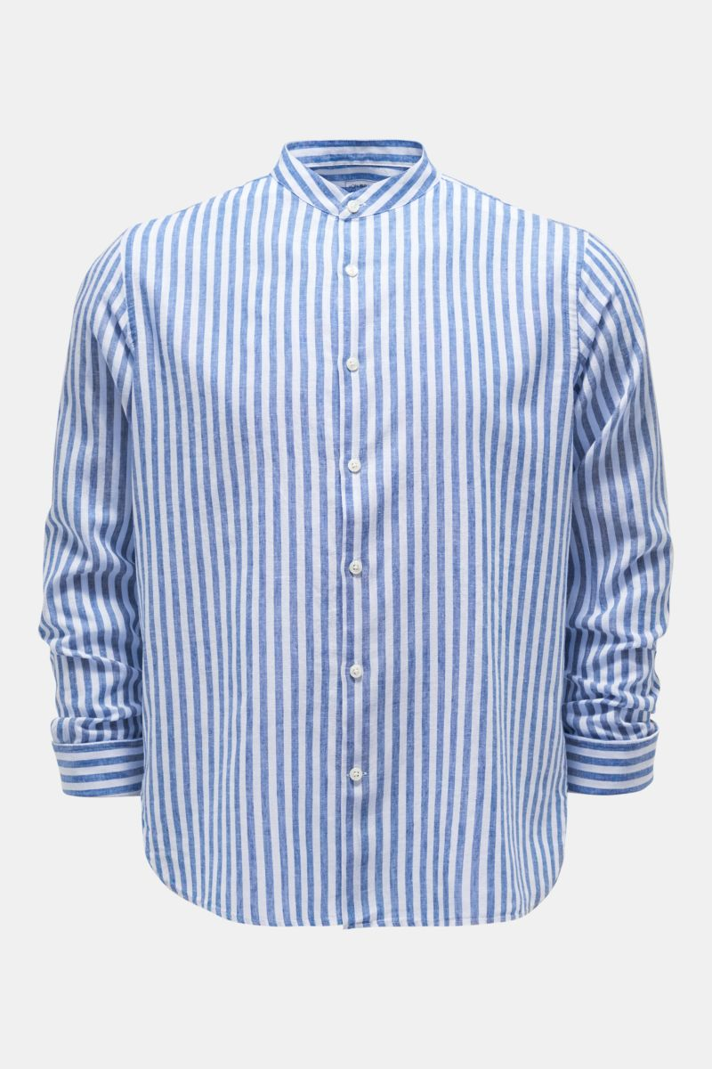 Casual Hemd Grandad-Kragen dunkelblau/weiß gestreift