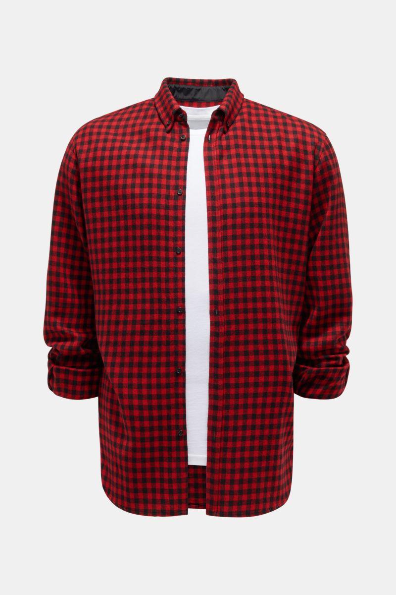 Flanellhemd Button-Down-Kragen rot/schwarz kariert