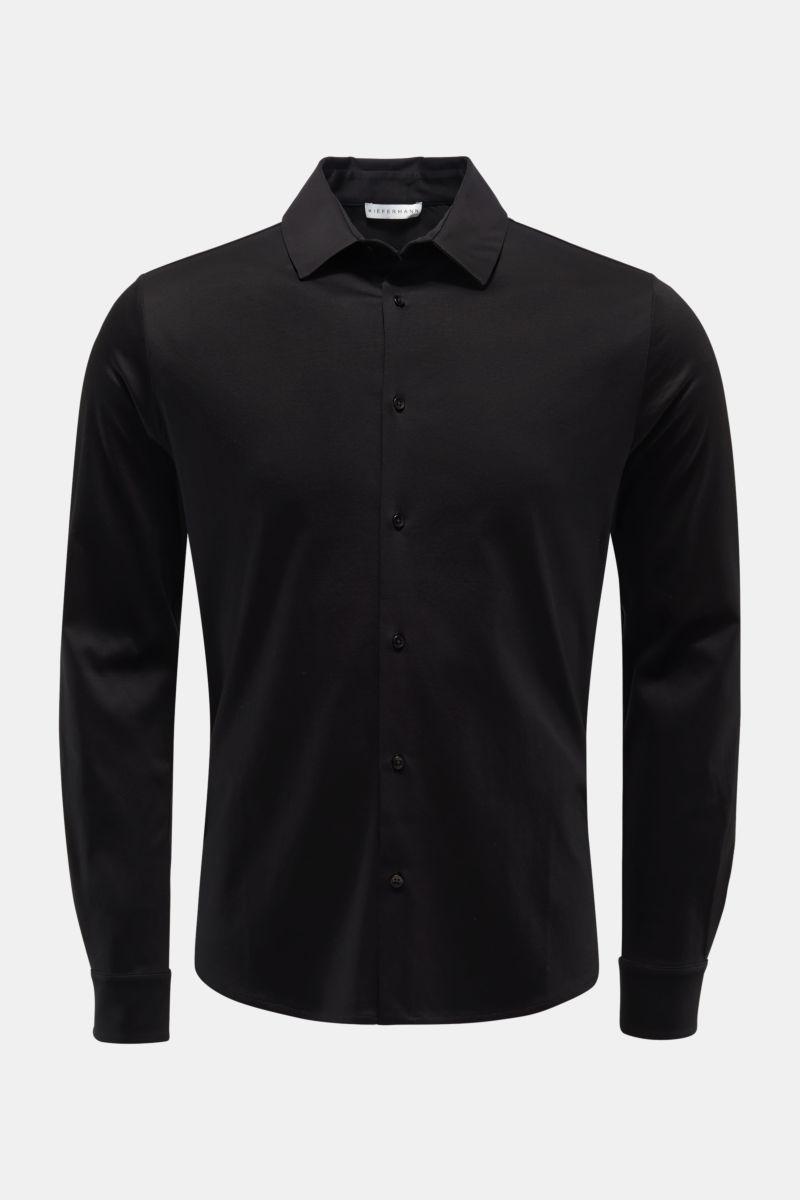 Jersey-Hemd 'Pius' schmaler Kragen schwarz