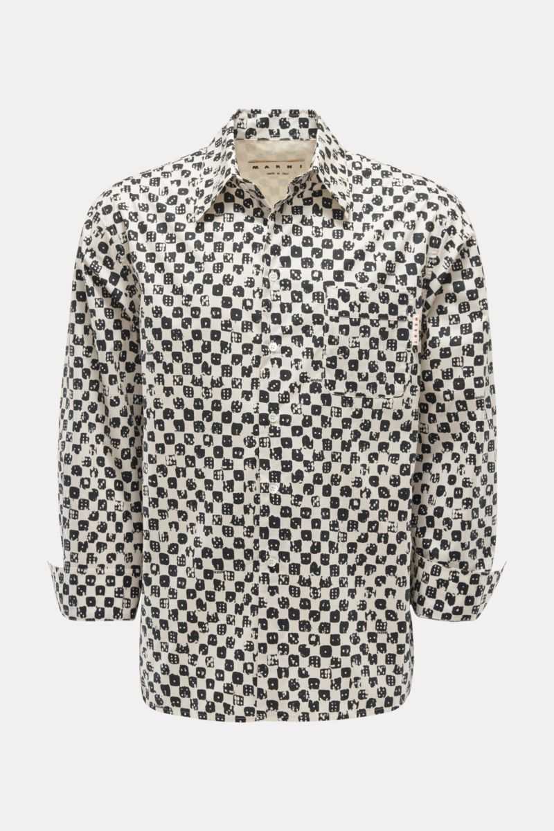Casual shirt Kent collar off-white/black patterned