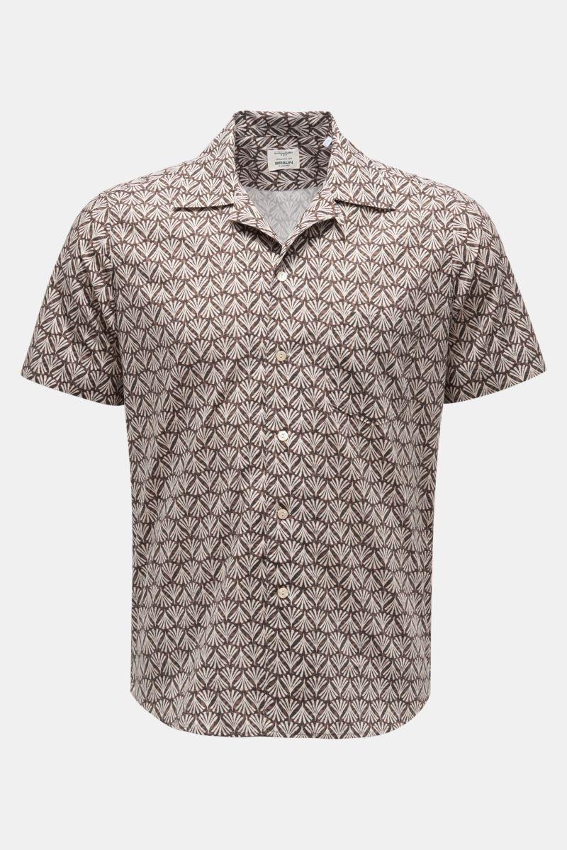 Kurzarmhemd Tab-Kragen braun/weiß gemustert