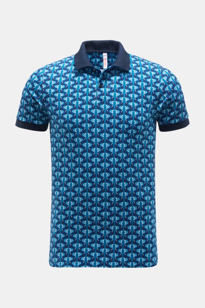 Poloshirt navy/petrol gemustert