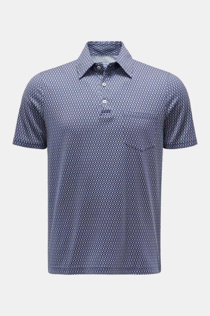 Jersey-Poloshirt 'Bell' navy/weiß gemustert