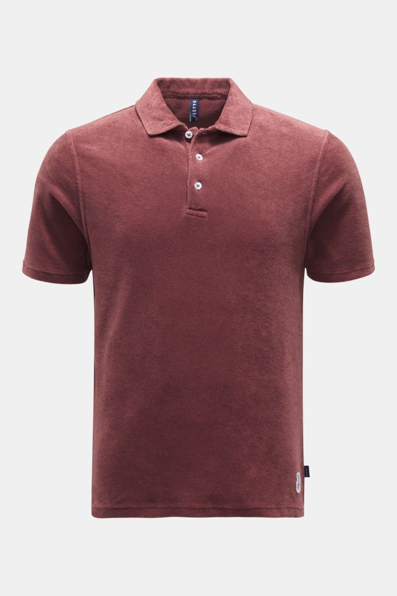 Frottee-Poloshirt bordeaux