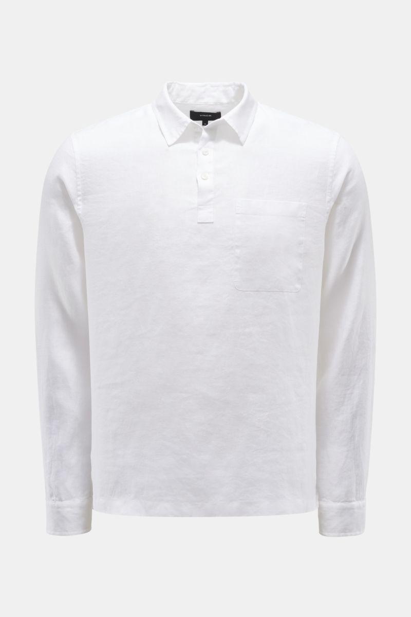 Leinen-Popover-Hemd schmaler Kragen weiß