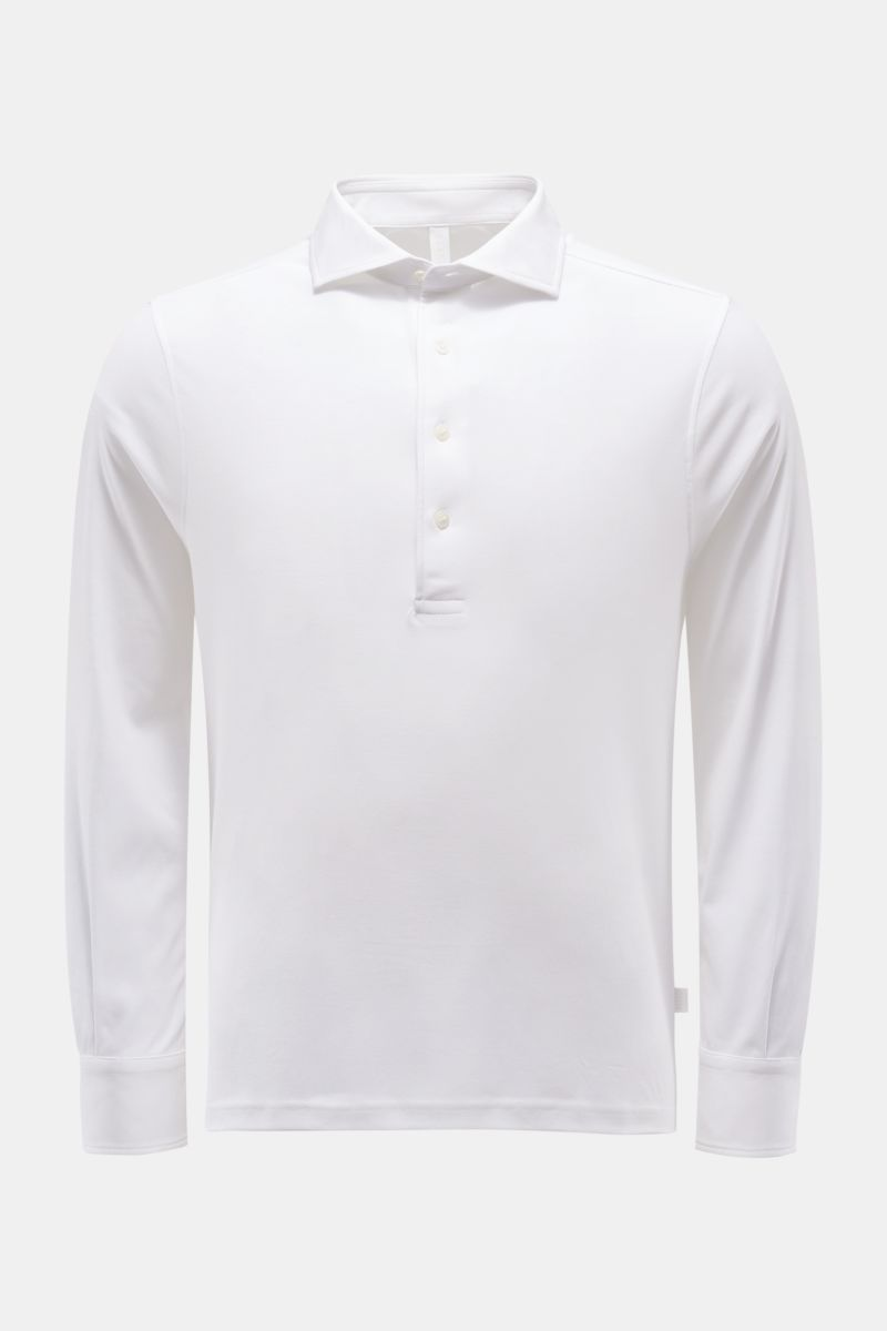 Longsleeve-Poloshirt weiß