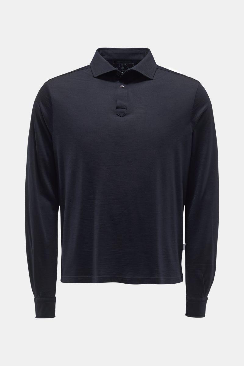 Merino Longsleeve-Poloshirt dark navy