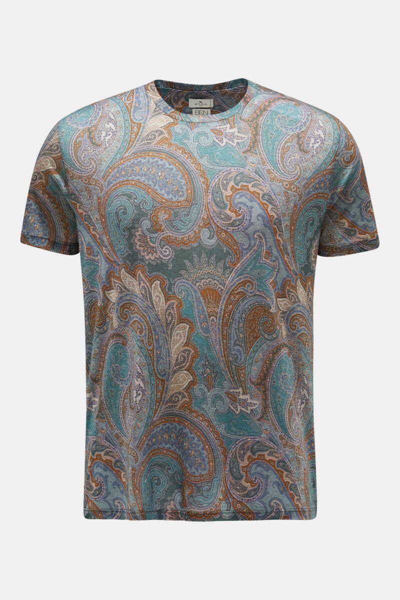 Rundhals-T-Shirt petrol/braun gemustert
