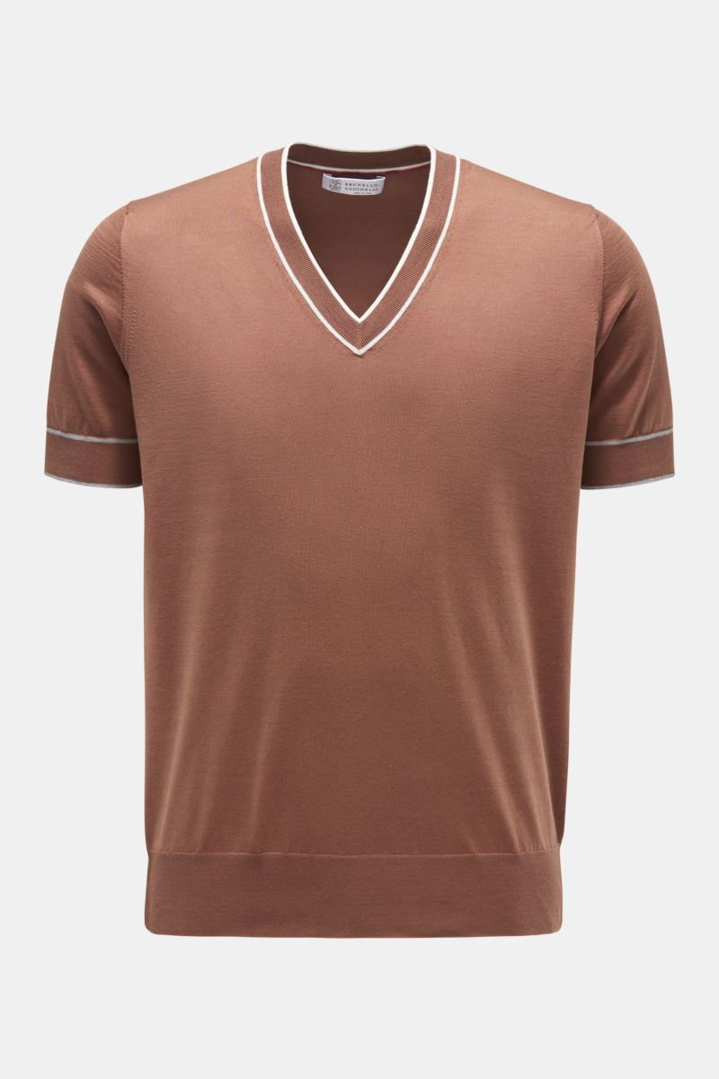 V-Neck Kurzarm-Pullover braun